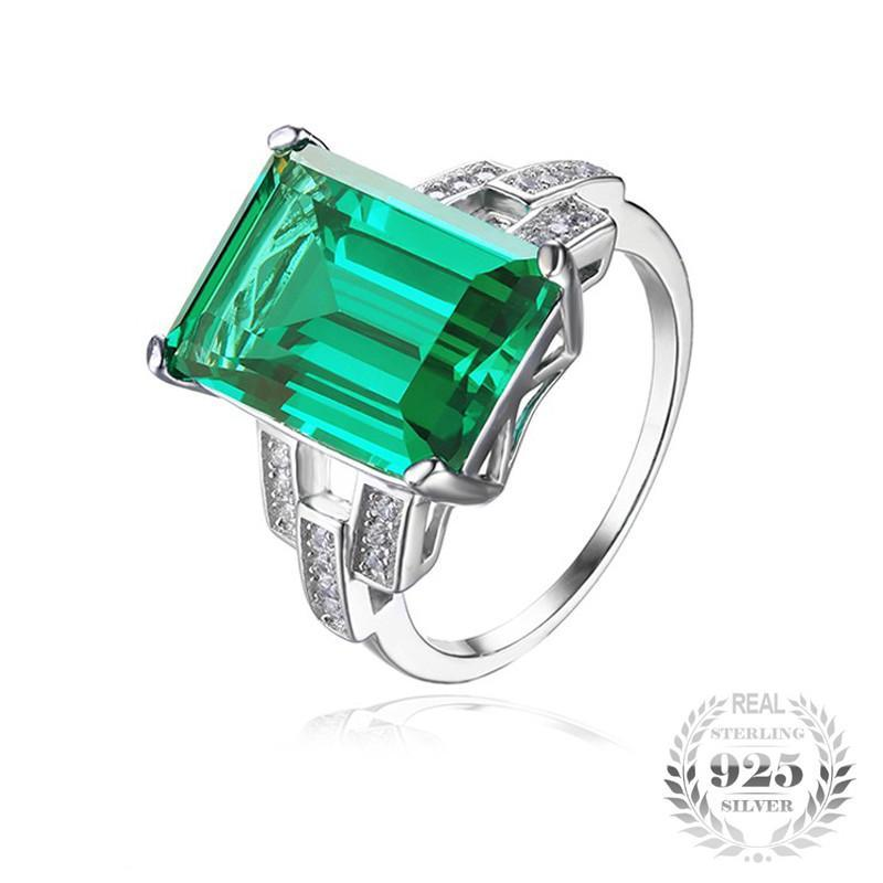 Genuine 5.9ct Emerald Birthstone .925 Sterling Silver Ring (May)