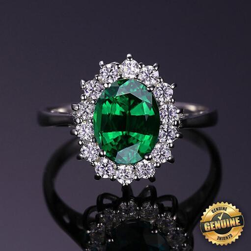 Princess Diana inspired 3.2ct Emerald S925 Ring (May)