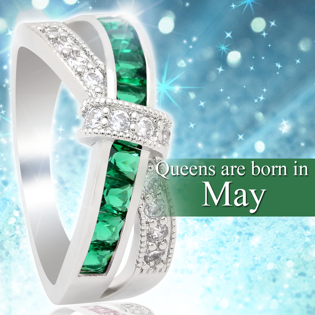 May Birthstone White Gold Filled Ring