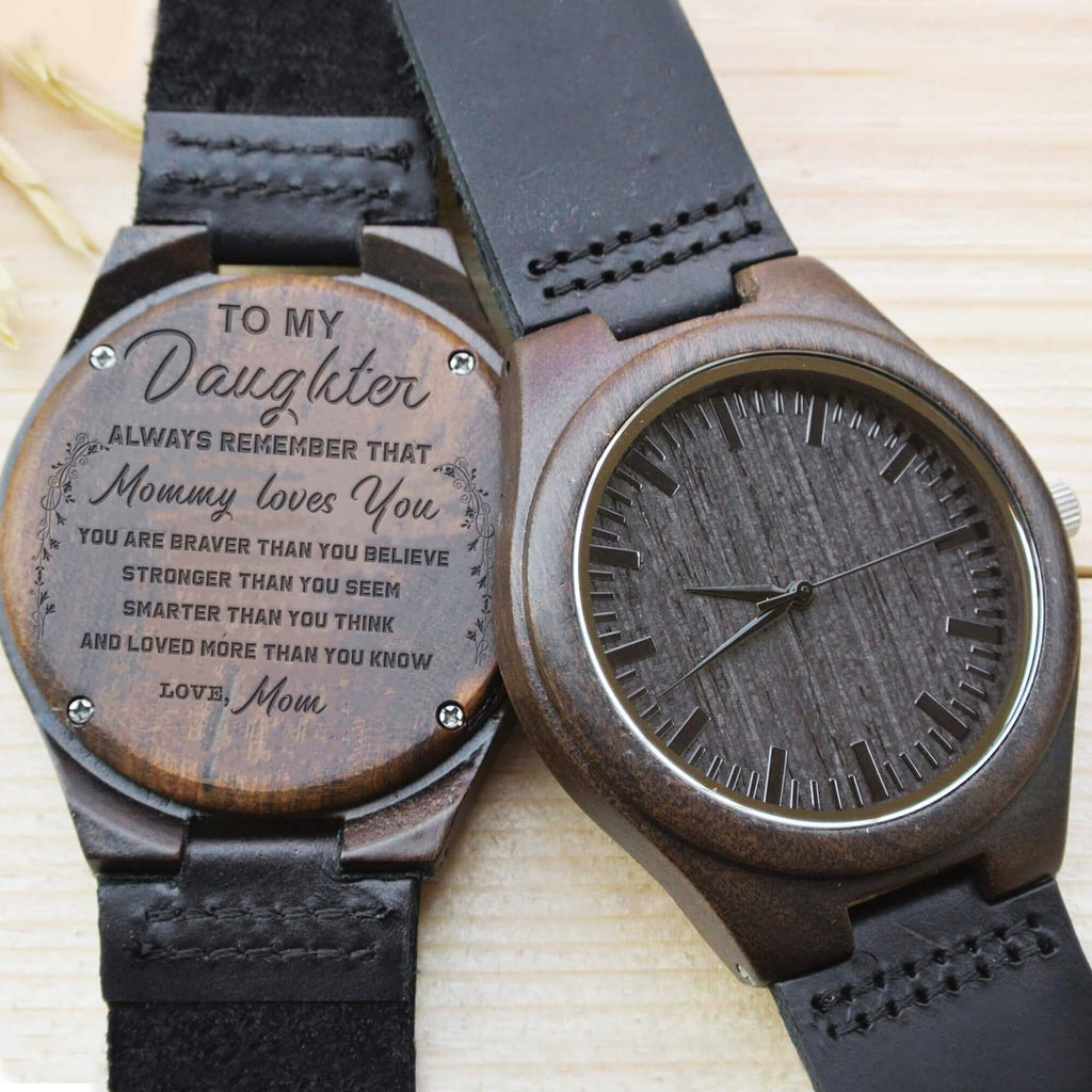 Daughter Mom - Always Remember - Wood Watch