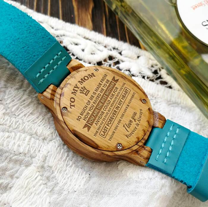 To My Mom - The Best Mother - Sky Blue Leather Wood Watch