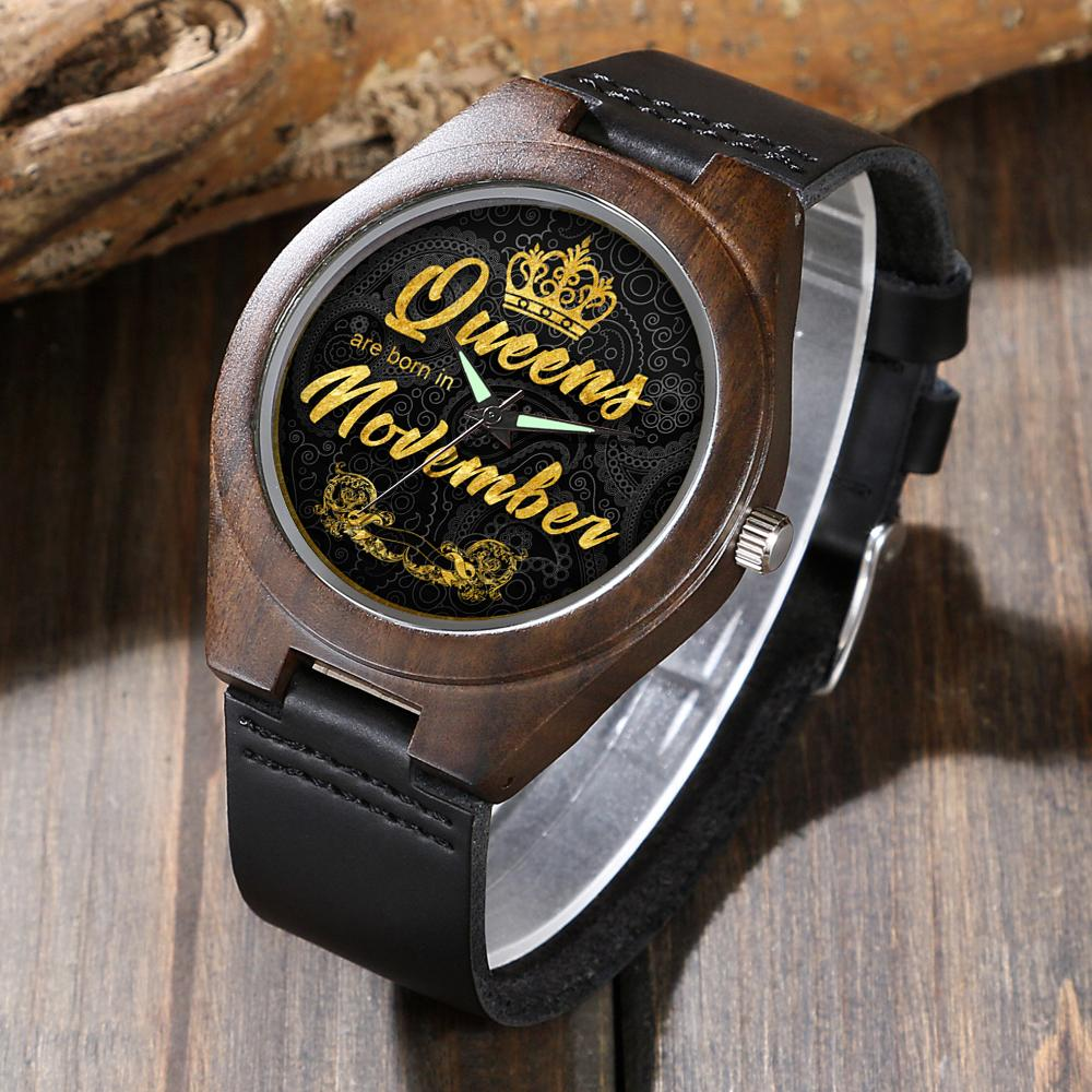 Personalized November Queen - Ebony Wood Watch