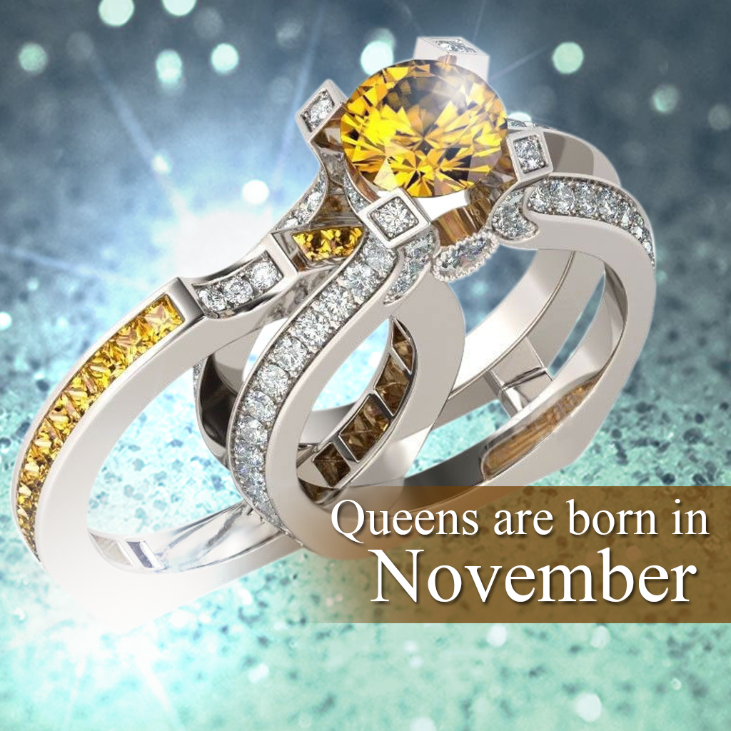 Silver Citrine Birthstone Ring (November)