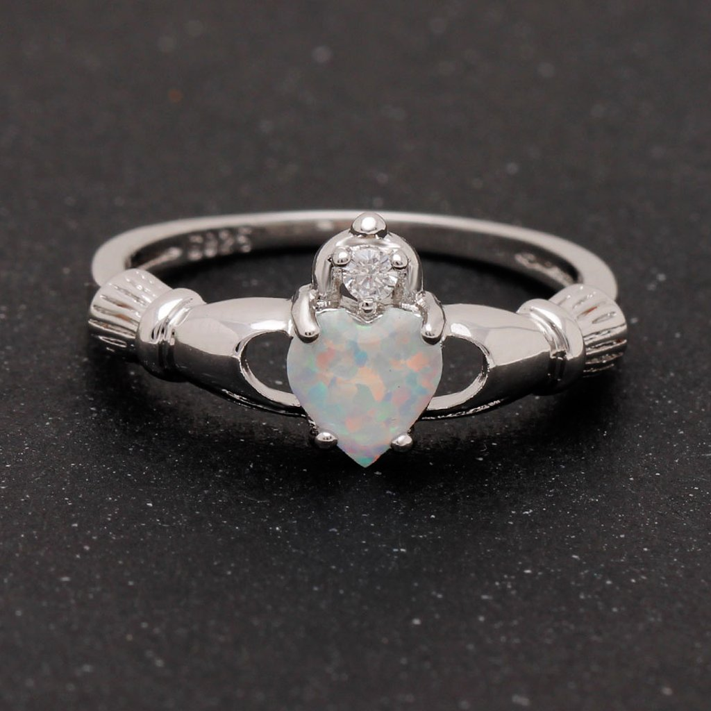 October Birthstone Claddagh Opal Ring
