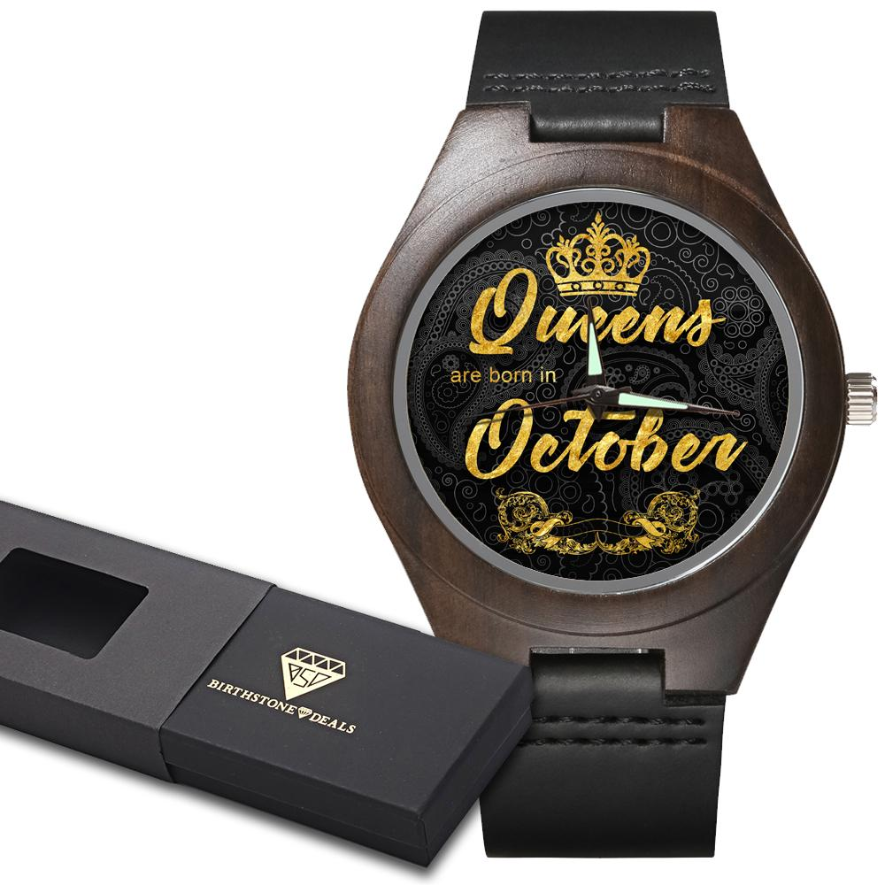 Personalized October Queen - Ebony Wood Watch