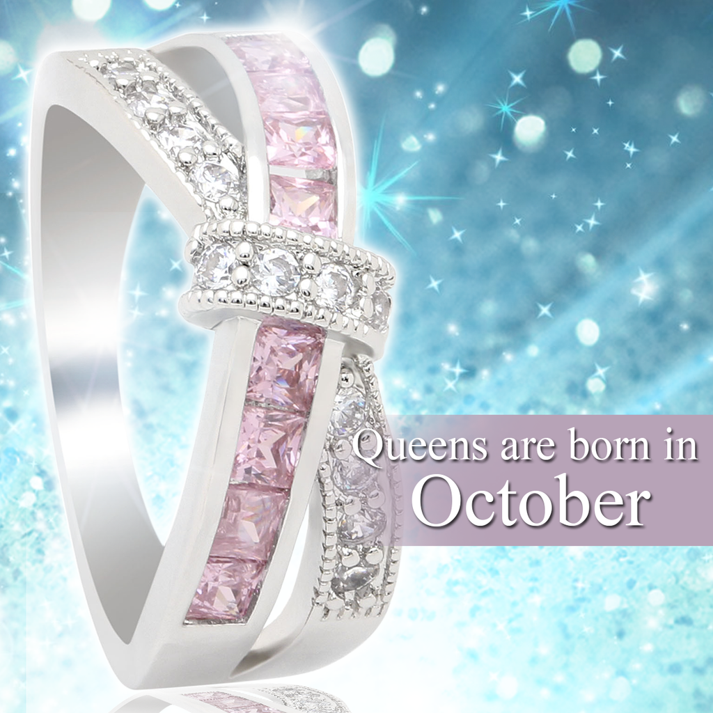 October Birthstone White Gold Filled Ring