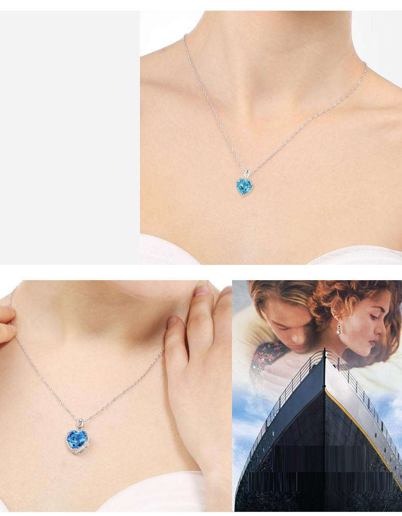 Aquamarine Heart Pendant Necklace (March)