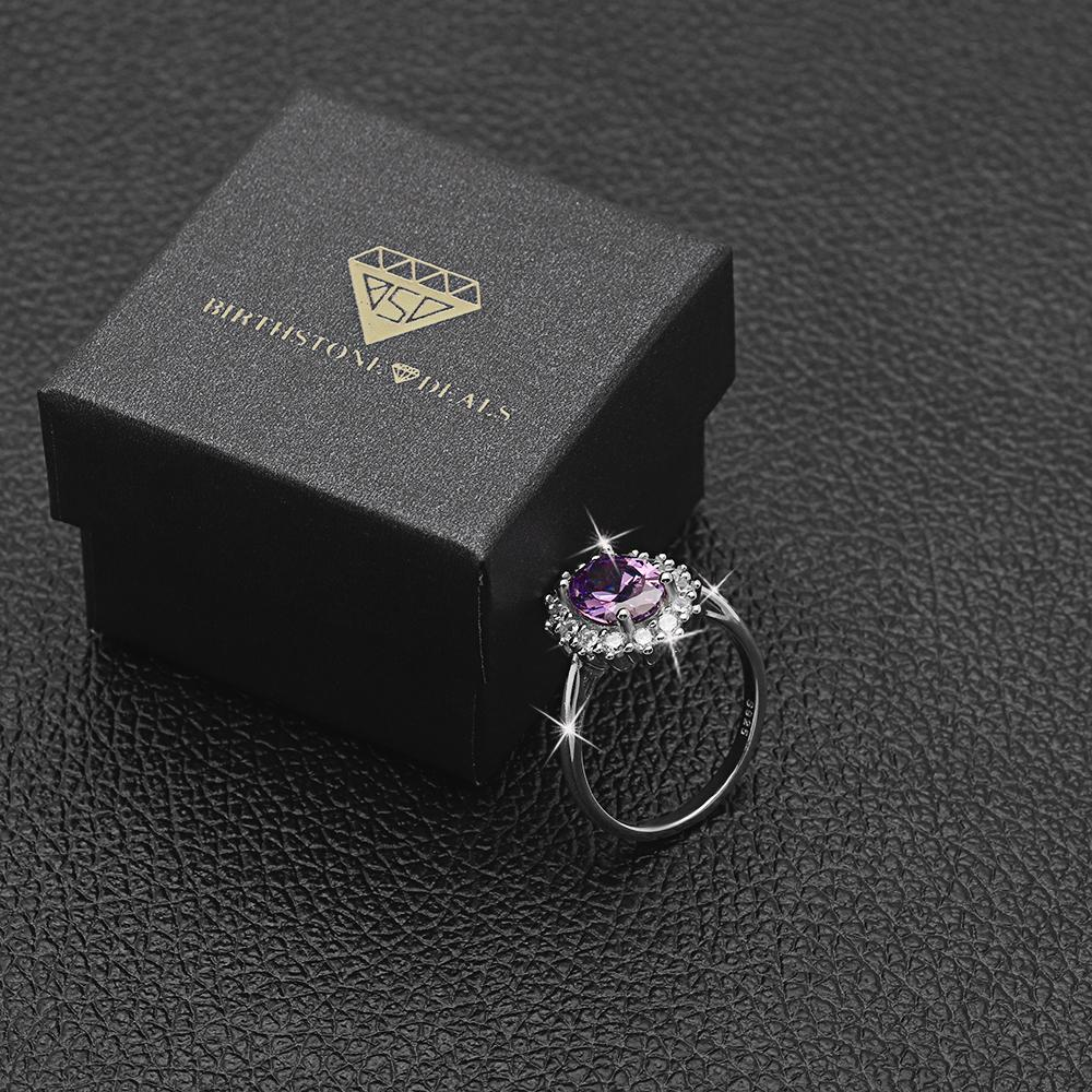Princess Diana inspired 3.2CT Alexandrite S925 Ring (June)