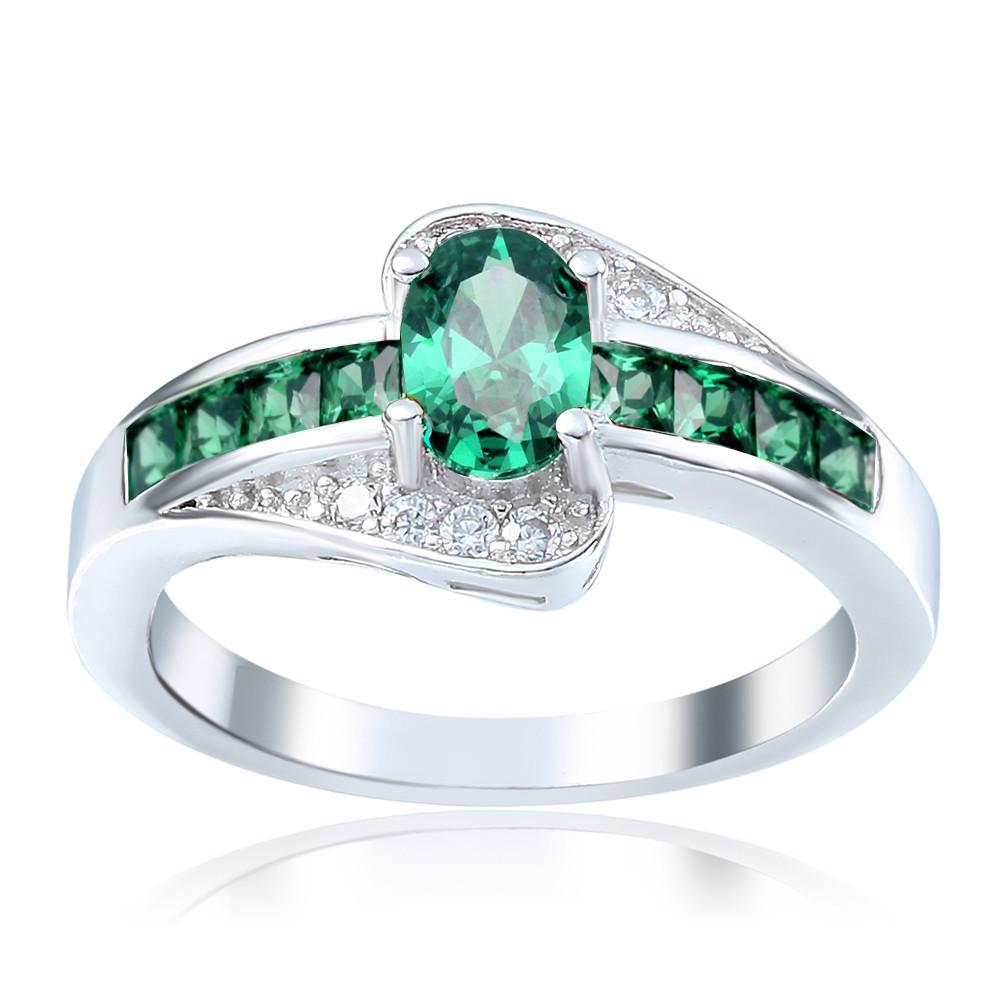 May Birthstone Halo Ring