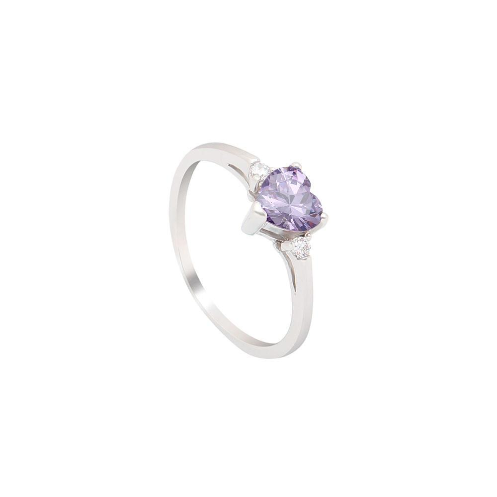 February Heart Birthstone Ring (Amethyst)