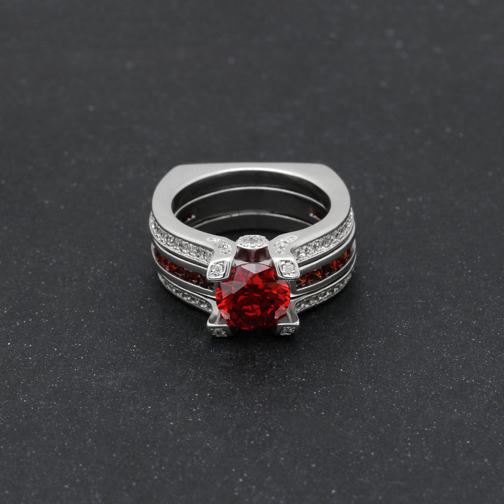 Silver Garnet Birthstone Ring (January)
