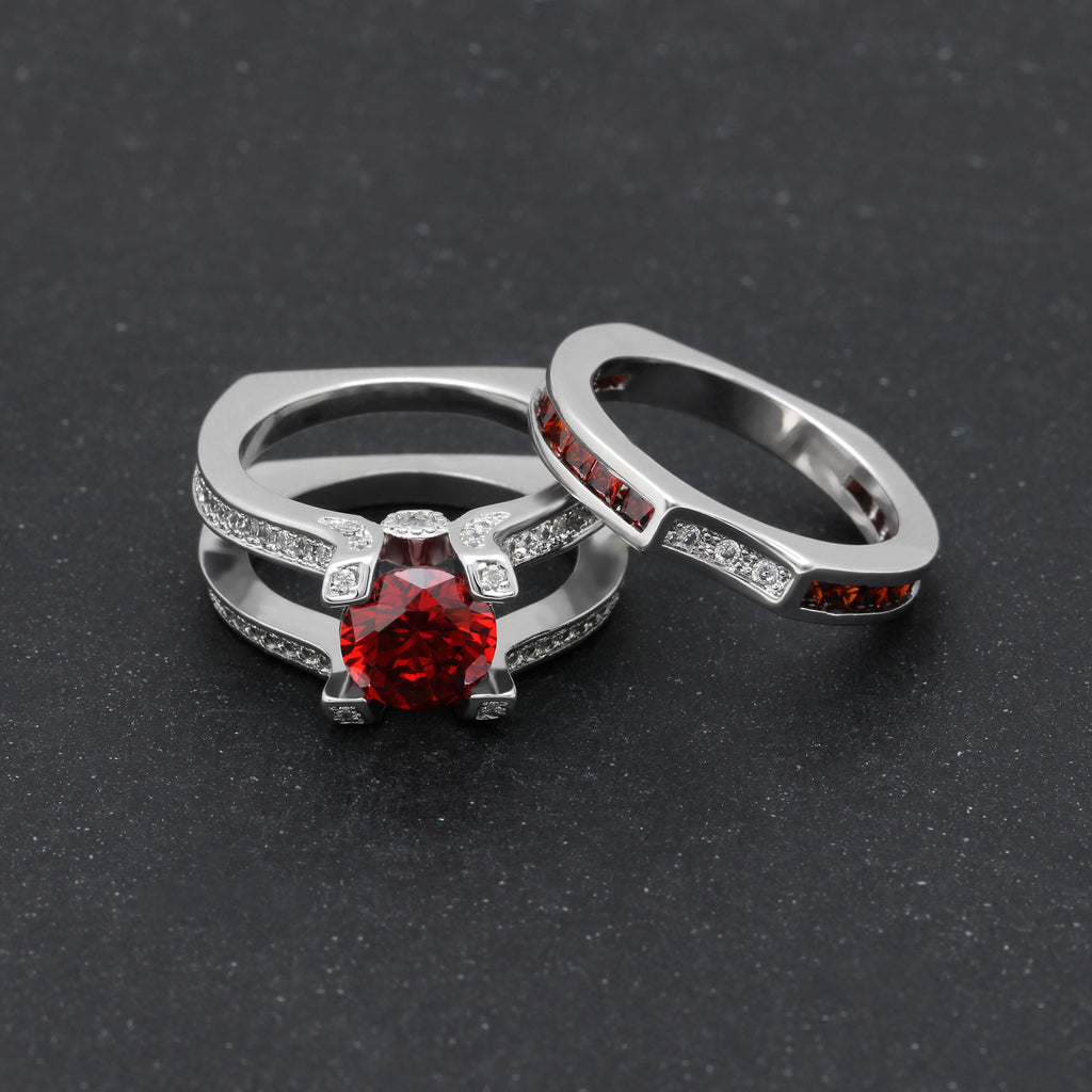 Silver Ruby Birthstone Ring (July)