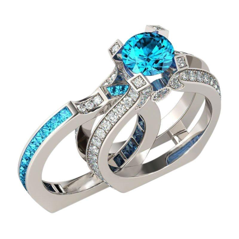 Silver Blue Topaz Birthstone Ring (November)