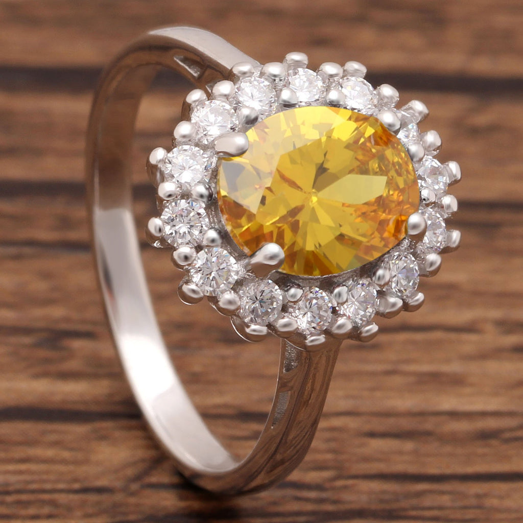 Princess Diana Inspired 3.2CT Citrine S925 Ring