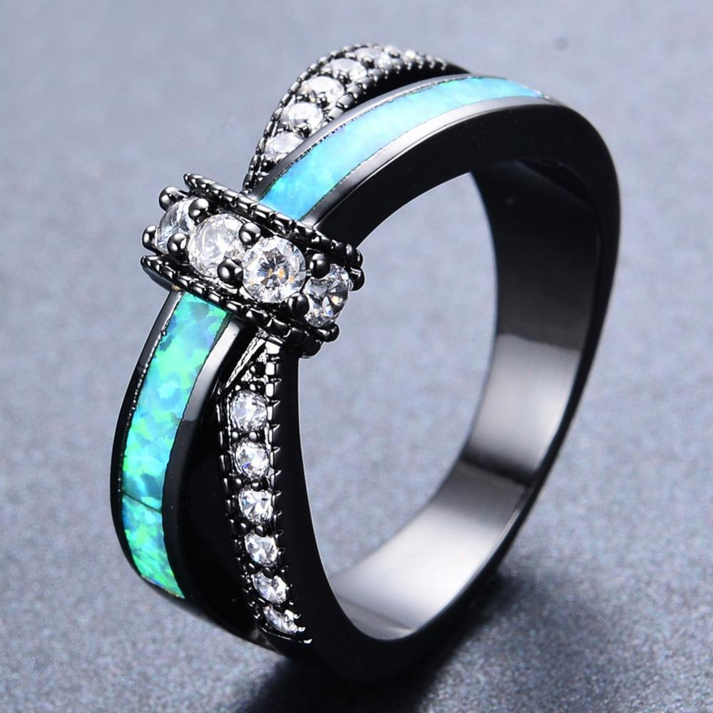October Blue Opal Black Gold Filled Ring