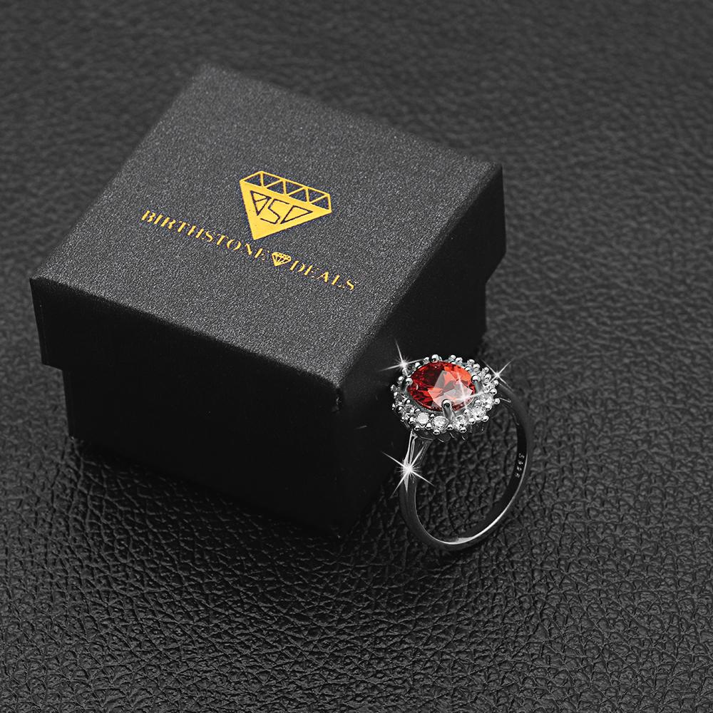 Princess Diana inspired 2.55ct Garnet S925 Ring (January)