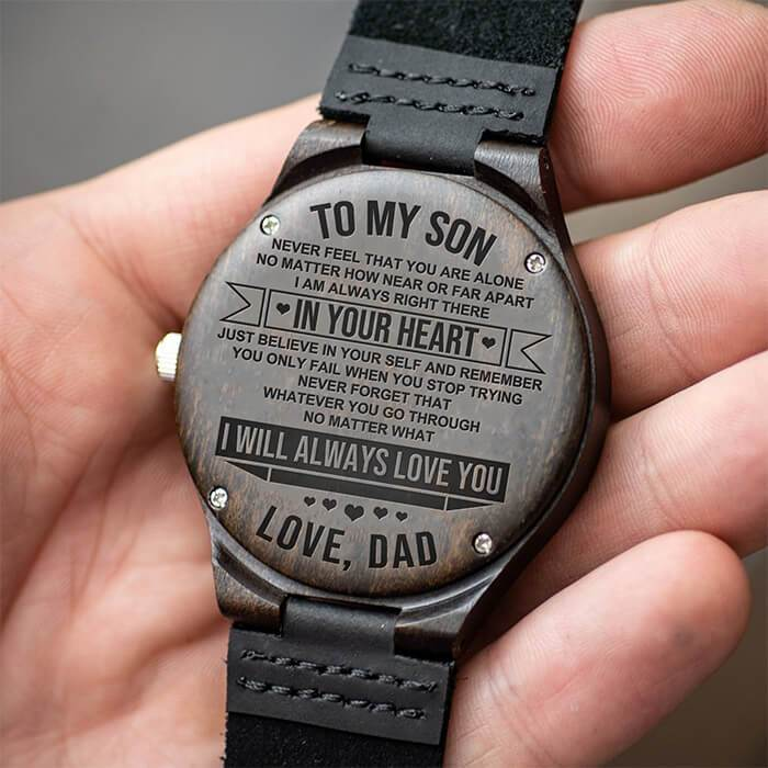 To Son - From Dad - Always In Your Heart - Wood Watch
