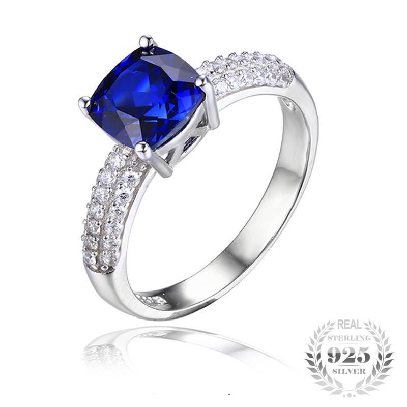 Genuine 2.6ct Sapphire Solitaire .925 Sterling Silver Ring (September)