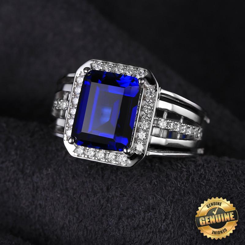 halo september vintage blue engagement genuine birthday sapphire diamond ring media