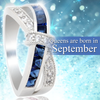 September Birthstone White Gold Filled Ring