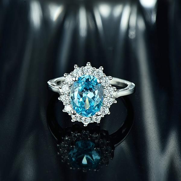 Princess Diana inspired 2.0ct Aquamarine S925 Ring (March)