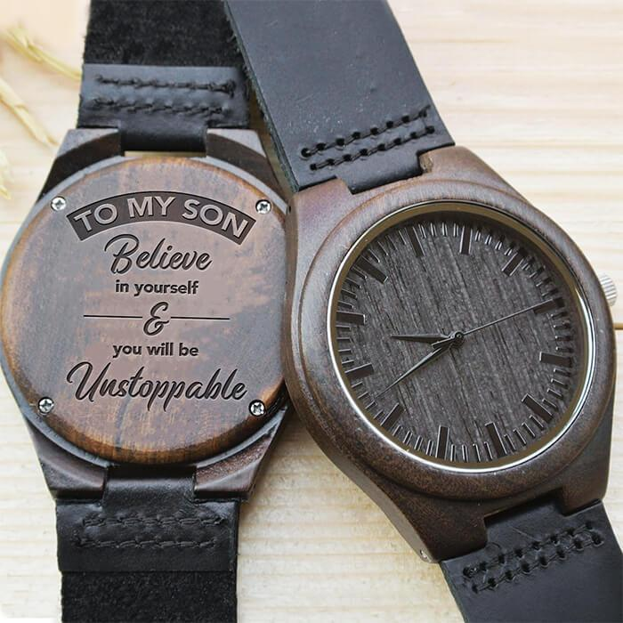 To My Son - Believe In Yourself - Wood Watch
