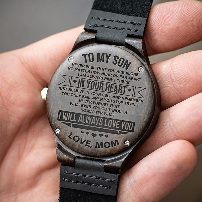 To Son - From Mom - Always In Your Heart - Wood Watch