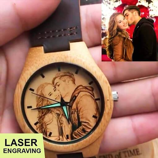 Custom-Engraved Photo Wood Watch (FREE Wooden Sunglasses Today!)