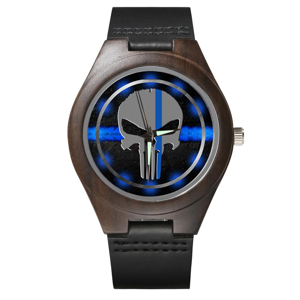Thin Blue Line - Wood Watch