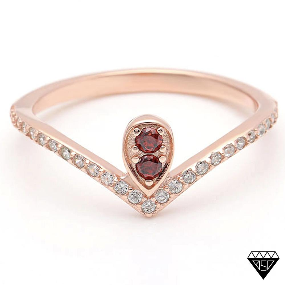 5611d7df8bbcfd Queen Victoria Ruby V-Ring (July Birthstone) - Birthstone Deals