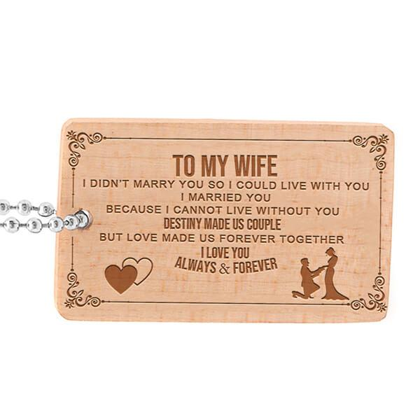 To My Wife - Engraved Keepsake Tag