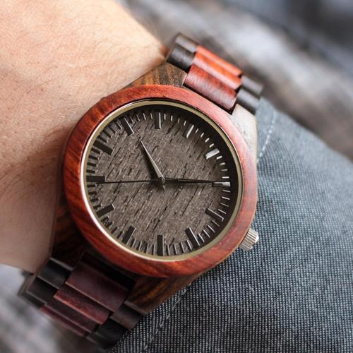 Custom Wood Watch / Red Wood + Black Ebony *BEST-SELLER