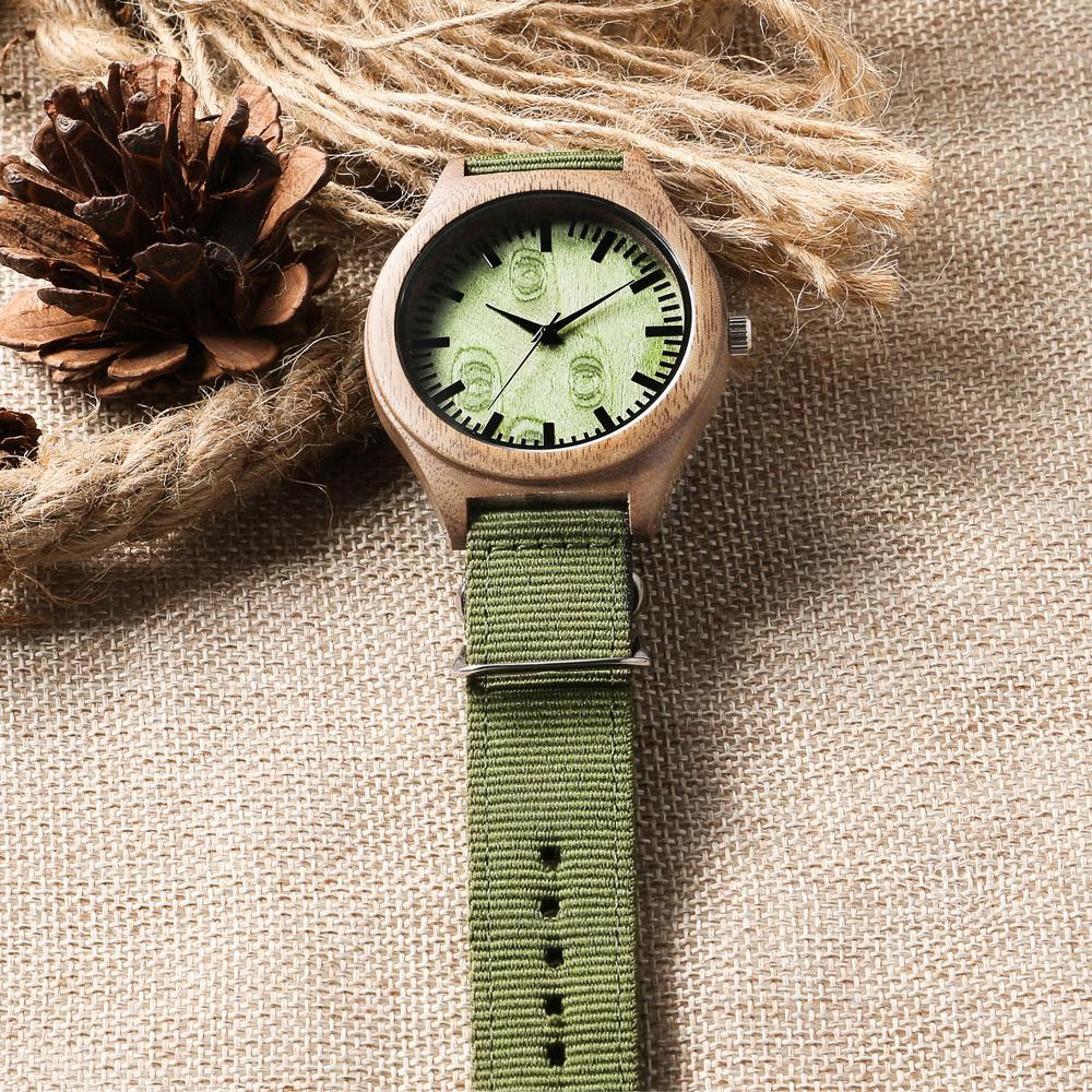 Custom Wood Watch / Forest Green Canvas Strap