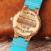 To My Wife - All Of Me - Sky Blue Leather Wood Watch