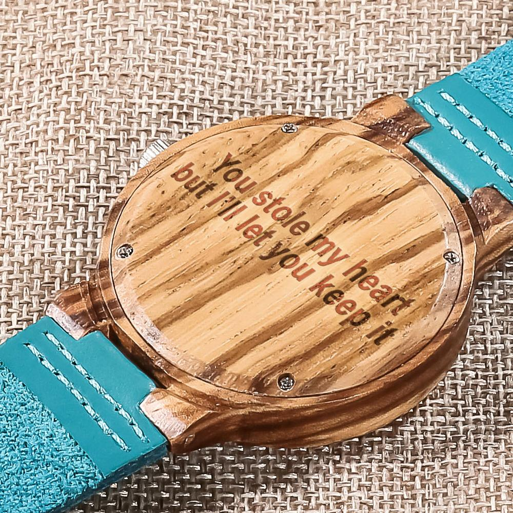 Custom Wood Watch / Sky Blue Leather Strap