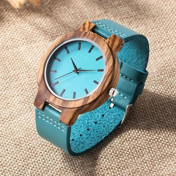 To Mom - From Son - Sky Blue Leather Wood Watch