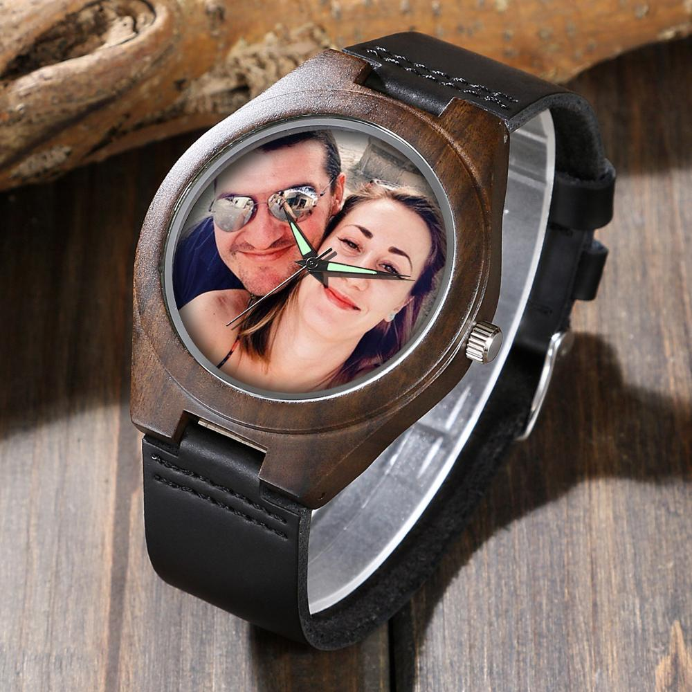Custom Photo Ebony Wood Watch