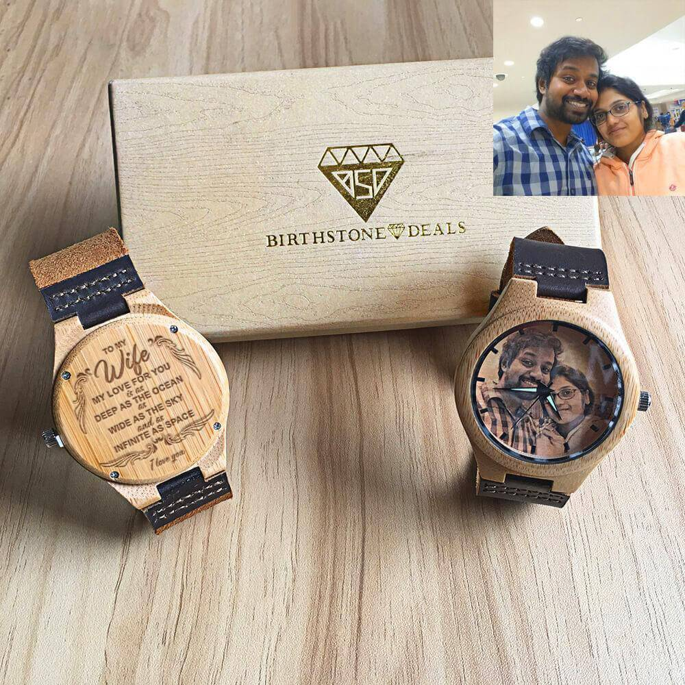 To My Wife - Custom-Engraved Photo Wood Watch