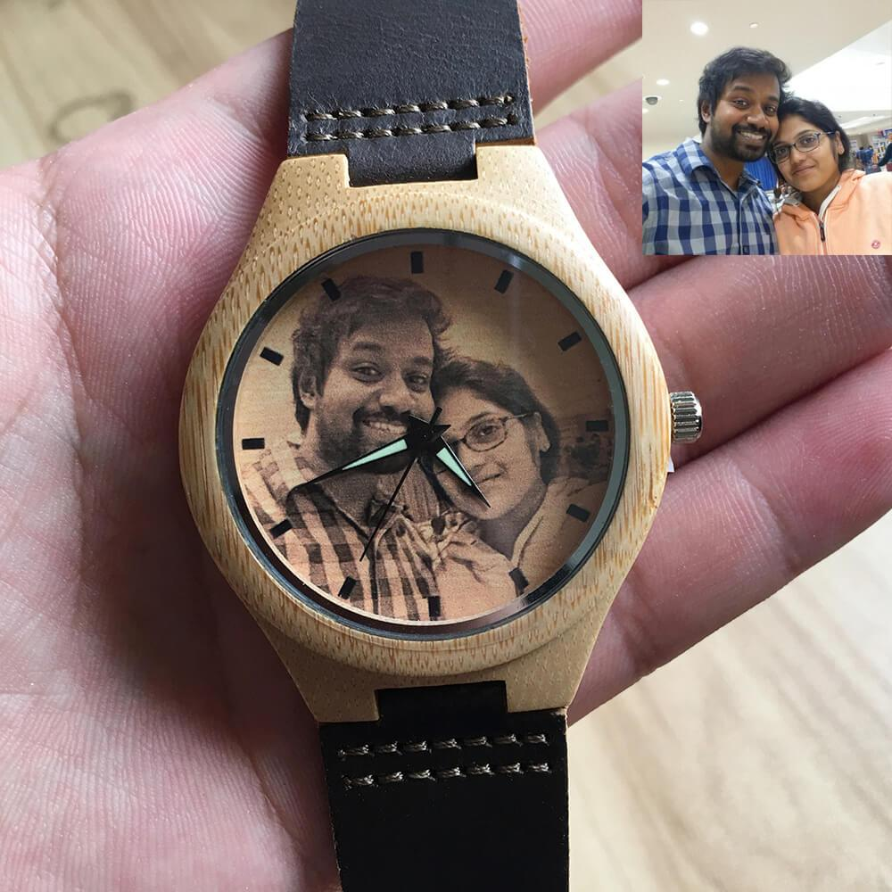 To My Husband - Custom-Engraved Photo Wood Watch