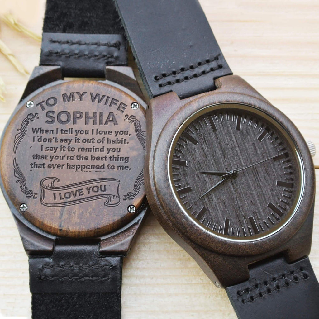 I Love You - Wife - Custom Name - Wood Watch