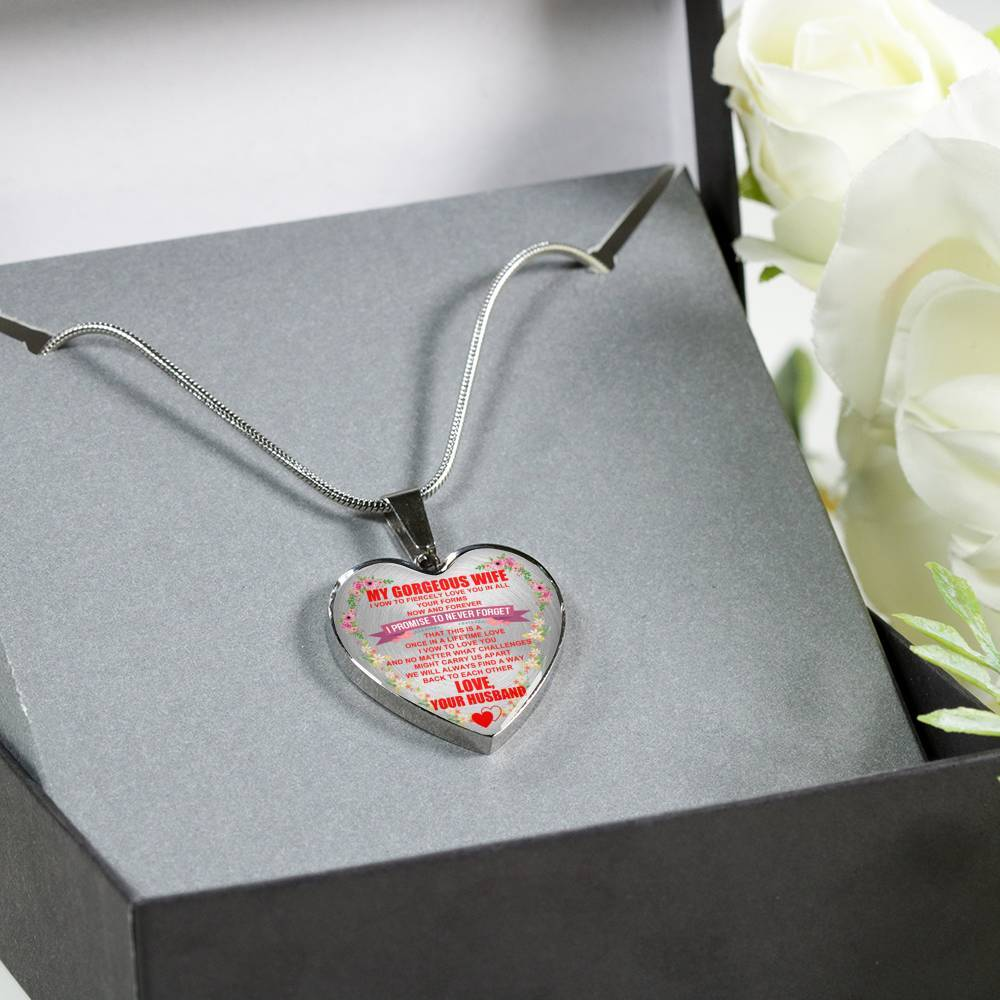 To My Gorgeous Wife - Now & Forever - Heart Keepsake Necklace