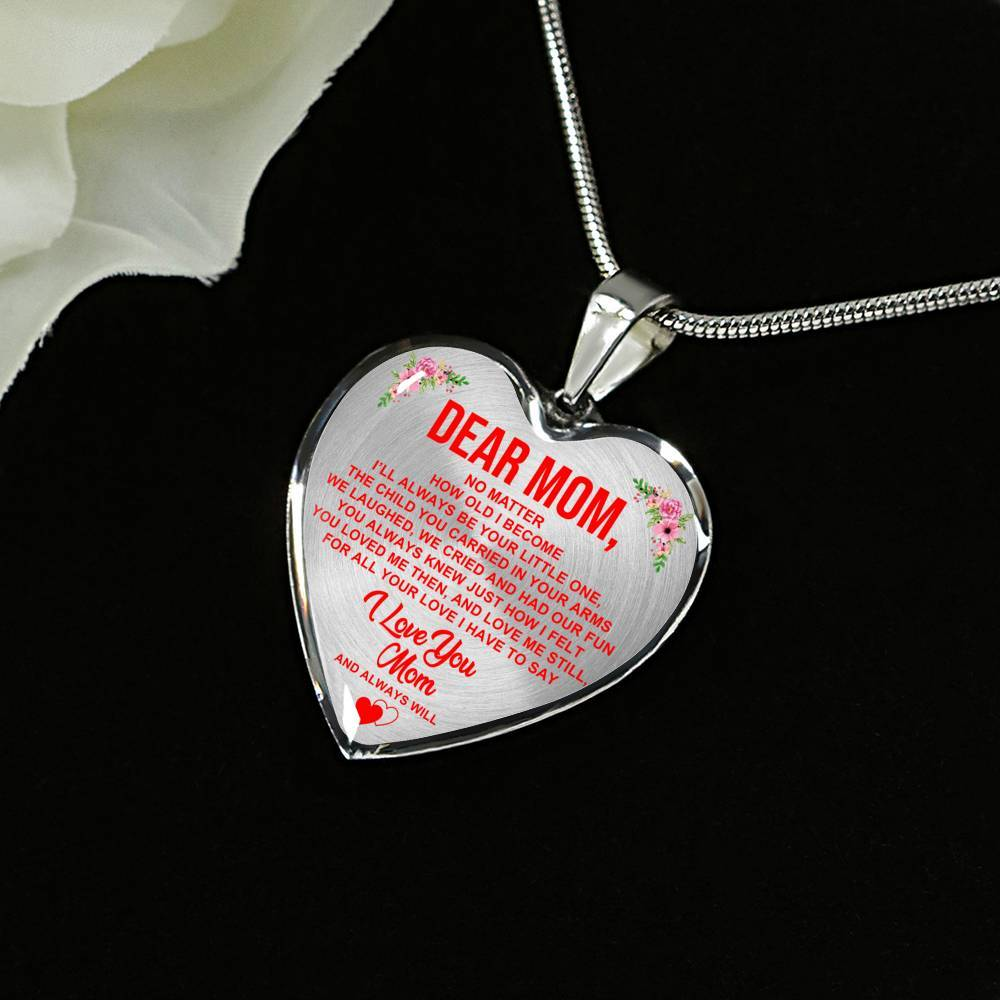 Dear Mom - I Love You - Heart Keepsake Necklace