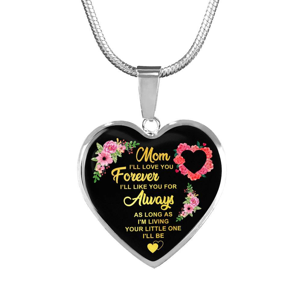 Mom - Forever & Always - Heart Pendant Necklace