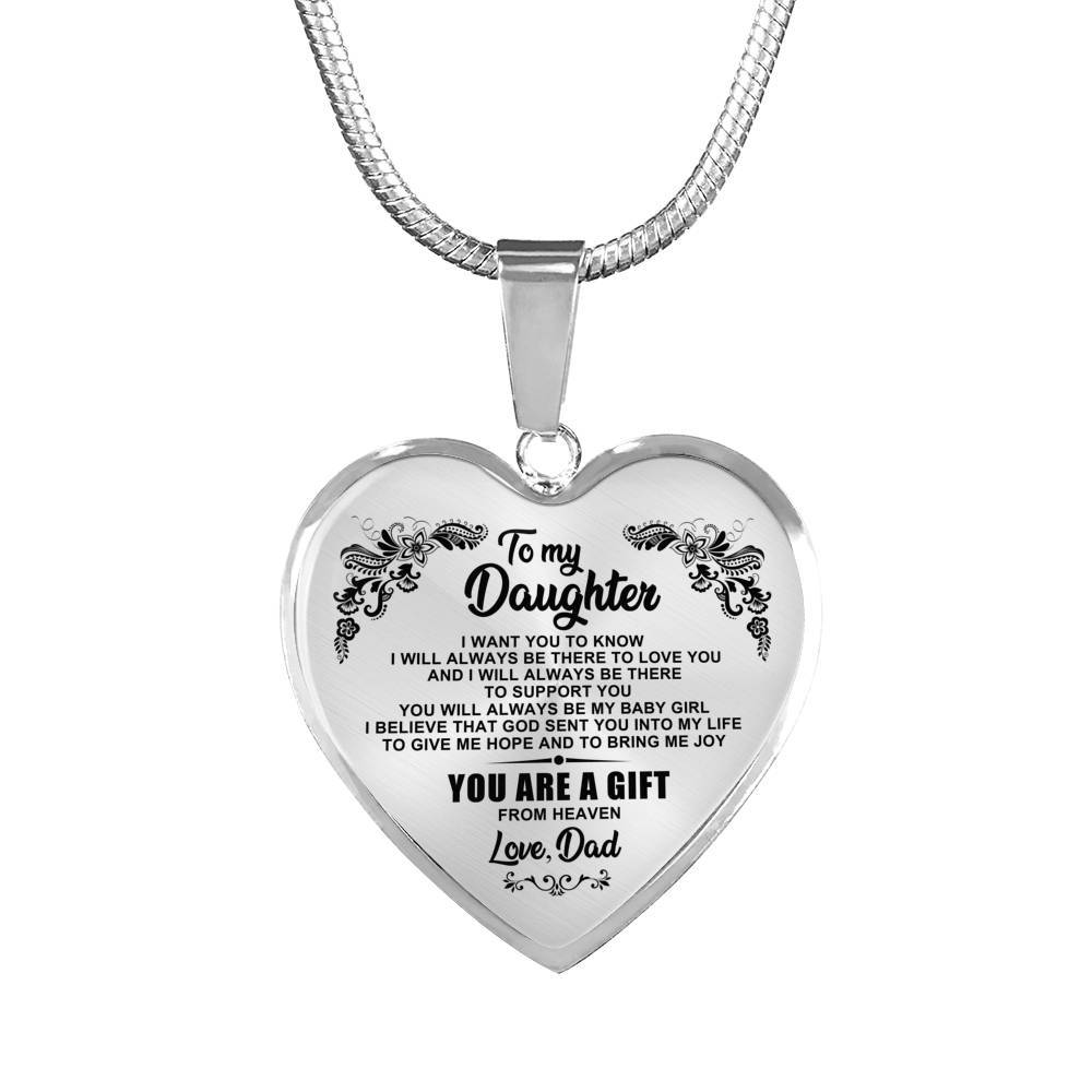 To Daughter - From Dad - Gift From Heaven Keepsake Necklace