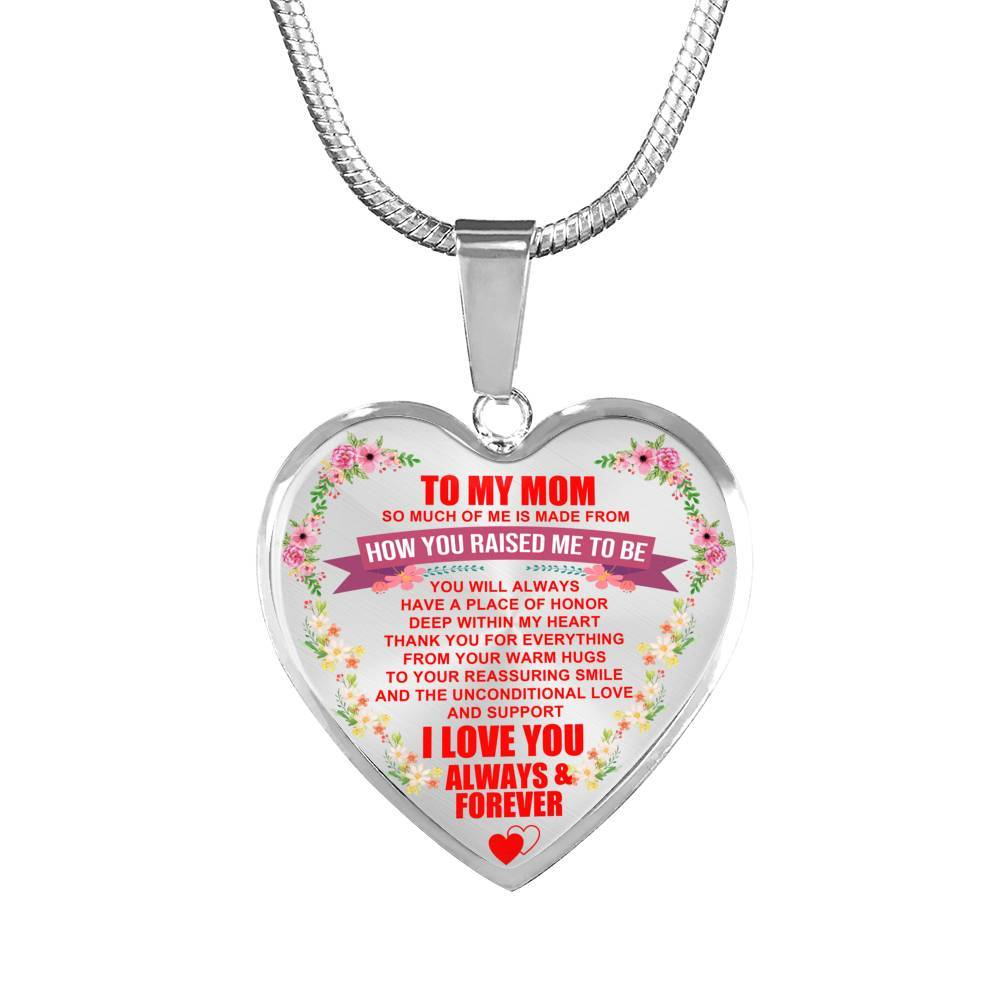 To My Mom - I Love You Always & Forever - Heart Keepsake Necklace