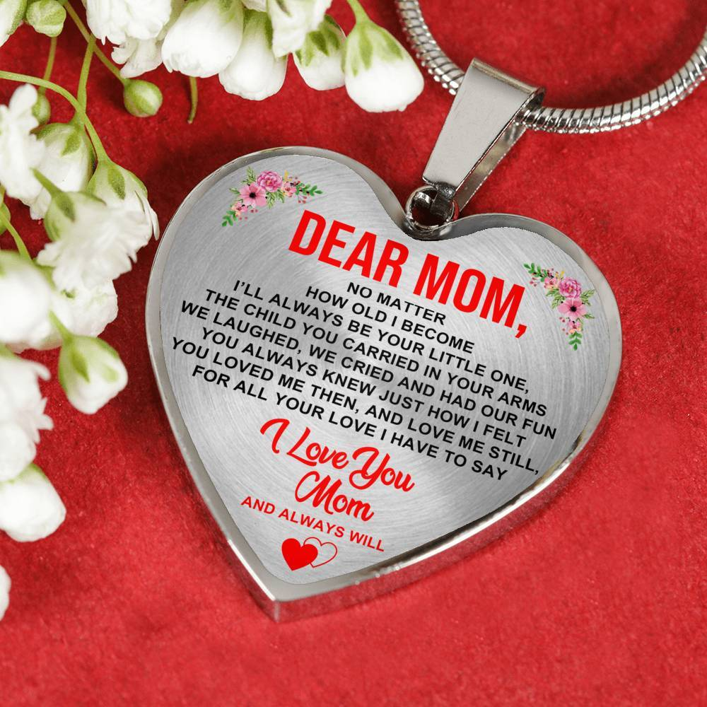 I Love You Mom And Always Will - Heart Keepsake Necklace
