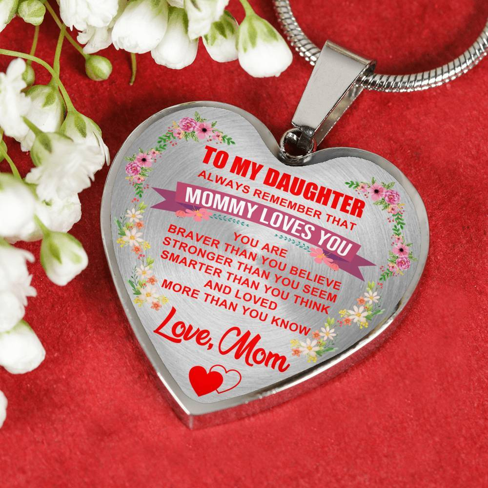 To Daughter - From Mom - Heart Pendant Necklace