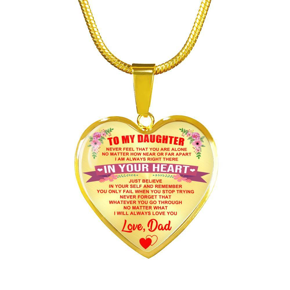 To Daughter - From Dad - Never Alone - Keepsake Necklace