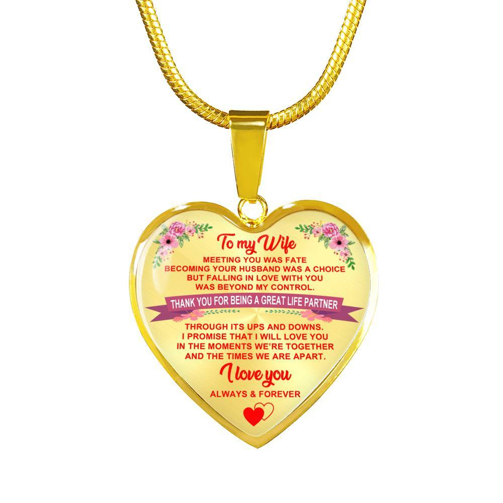Wife - Always & Forever - Heart Pendant Necklace