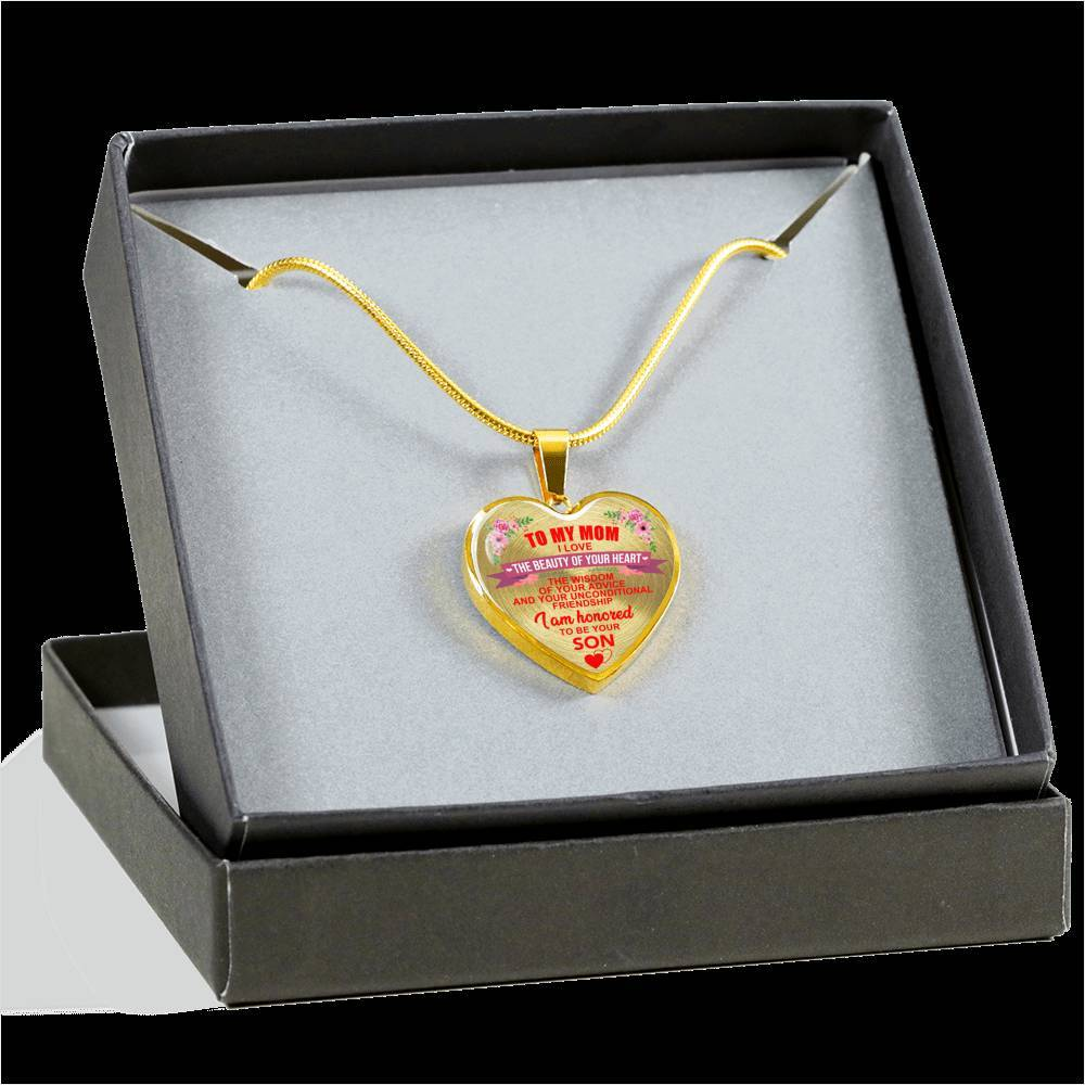 To Mom - I'm Honored To Be Your Son - Heart Keepsake Necklace